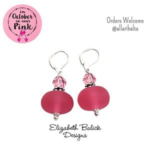 Elizabeth Balick Designs Pink/Silver Drop Earrings